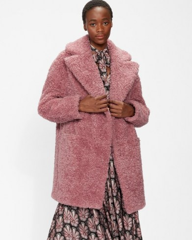 TED BAKER KAYYTI Faux fur cocoon coat in Pink / womens textured winter coats - flipped