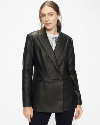 TED BAKER LIIVI Faux-leather blazer jacket Black ~ womens on trend double breasted blazers ~ fashionable jackets
