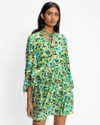TED BAKER ILVA Full Skirted Mini Dress in Bright Green / feminine floral print dresses