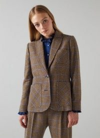 L.K. BENNETT GABRIEL BROWN AND BLUE CHECK WOOL-BLEND BLAZER / womens Prince of Wales checked blazers / women's single breasted jackets