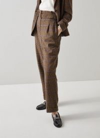 L.K. BENNETT GABRIEL BROWN AND BLUE CHECK WOOL-BLEND TROUSERS / womens Prince of Wales checked trousers / women's autumn and winter fashion
