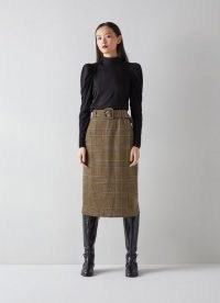 L.K. BENNETT GABRIEL MULTI WOOL MIX SKIRT / checked belted skirts