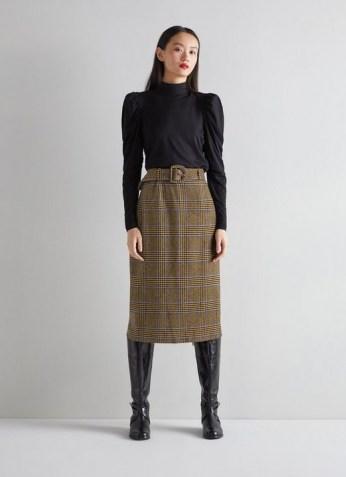 L.K. BENNETT GABRIEL MULTI WOOL MIX SKIRT / checked belted skirts - flipped