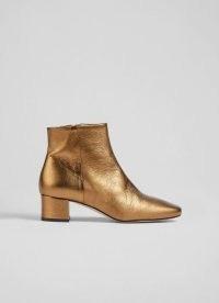 L.K. BENNETT GABRIELLE BRONZE LEATHER ANKLE BOOTS / womens shiny luxe autumn and winter footwear