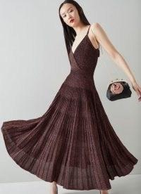 L.K. BENNETT GATSBY PINK RAYON MIX DRESS ~ strappy flared hem party dresses ~ evening glamour ~ glamorous occasion fashion
