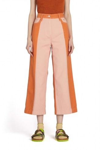 gorman GENIE CONTRAST JEAN | pink and orange cropped spliced denim jeans | colour block fashion - flipped