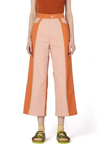gorman GENIE CONTRAST JEAN | pink and orange cropped spliced denim jeans | colour block fashion