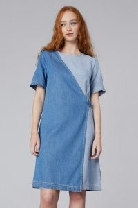 gorman GENIE WRAP DENIM DRESS   short sleeve asymmetric front dresses   tonal blue dresses