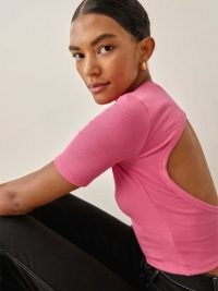 Reformation Gerard Top in Snapdragon – pink crew neck open back tops – cut out fashion