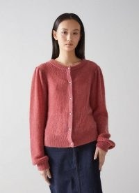 L.K. BENNETT GINA PINK WOOL MIX CARDIGAN ~ fluffy pearl button cardigans ~ womens luxe style knitwear