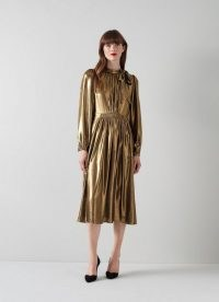 L.K. BENNETT GISH GOLD POLYESTER DRESS / glamorous party dresses / occasion glamour / womens shiny occasionwear