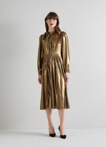 L.K. BENNETT GISH GOLD POLYESTER DRESS / glamorous party dresses / occasion glamour / womens shiny occasionwear - flipped