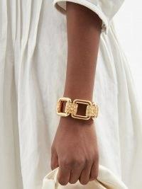 JIL SANDER Chain bracelet – luxe chunky gold tone bracelets – womens chic designer fashion jewelley