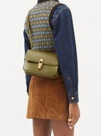 SAINT LAURENT Carré green leather cross-body bag ~ chic designer crossbody bags ~ autumn and winter colours