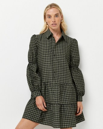 RIVER ISLAND Green gingham tiered mini dress / checked dresses - flipped