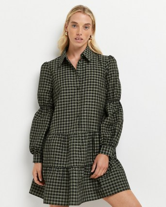 RIVER ISLAND Green gingham tiered mini dress / checked dresses