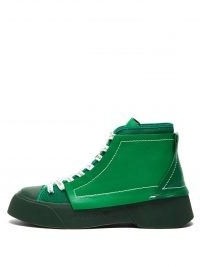 JW ANDERSON High-top green leather trainers