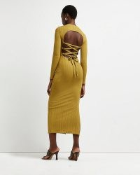 RIVER ISLAND Green lace up back midi dress – strappy open back dresses