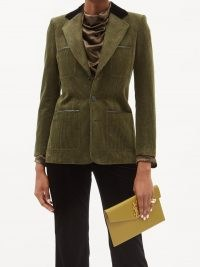SAINT LAURENT Leather-trimmed green corduroy single-breasted jacket ~ womens chic cord jackets ~ women's designer outerwear