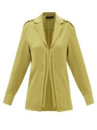 PROENZA SCHOULER Point-collar hammered-satin shirt in green ~ womens luxe chartreuse shirts