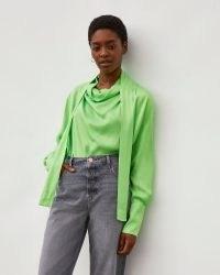 RIVER ISLAND Green RI Studio Cowl Tie Neck Blouse ~ button cuff blouses