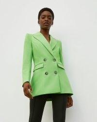 RIVER ISLAND Green RI Studio Double Breasted Blazer ~ womens fashionable blazers ~ women's bright tailored jackets
