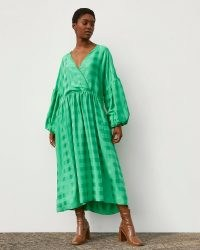 RIVER ISLAND Green RI Studio Jacquard Oversized Maxi Dress ~ voluminous balloon sleeve dresses