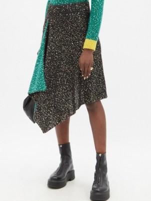 LOEWE Sequinned handkerchief-hem knitted skirt / asymmetric black and green sequin skirts - flipped