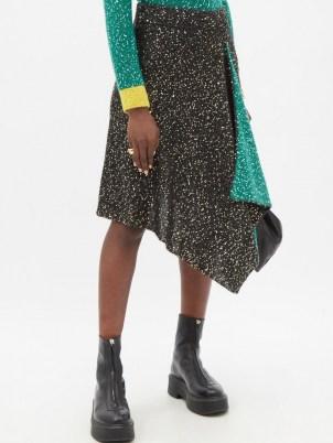 LOEWE Sequinned handkerchief-hem knitted skirt / asymmetric black and green sequin skirts