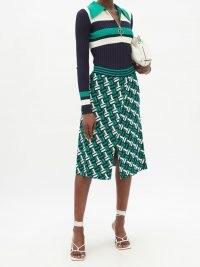 DODO BAR OR Shaun front-slit geometric-jacquard skirt – green knitted 70s inspired skirts – split hem