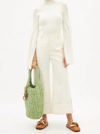 JW ANDERSON Shopper hand-crocheted cotton tote bag in green | organic cotton shoppers | knitted bags