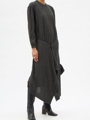 LEMAIRE Buttoned-front wool-blend knit dress   chic grey knitted dresses - flipped