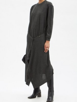 LEMAIRE Buttoned-front wool-blend knit dress   chic grey knitted dresses