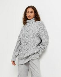 River Island Grey chunky cable knit jumper   womens high roll neck jumpers   women's textured knitwear