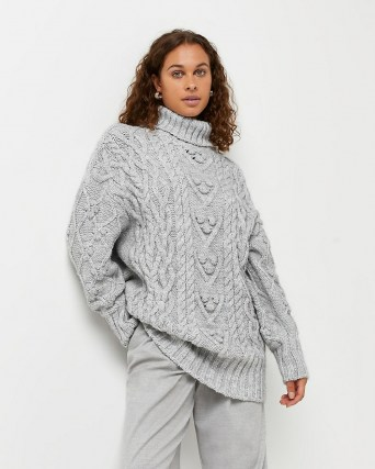 River Island Grey chunky cable knit jumper | womens high roll neck jumpers | women's textured knitwear - flipped