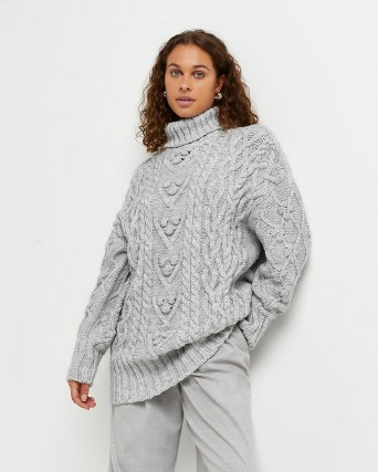 River Island Grey chunky cable knit jumper | womens high roll neck jumpers | women's textured knitwear