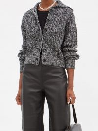 PROENZA SCHOULER WHITE LABEL Collared grey wool-blend cardigan | womens chic cardigans