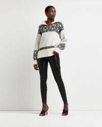 Grey fairisle half zip jumper |on-trend oversized collar jumpers | fashionable knitwear | side split hem sweaters