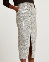 RIVER ISLAND Grey faux leather snake print midi skirt / front split skirts / animal prints on fashion