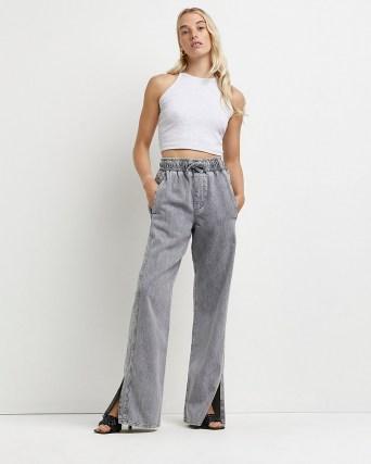 River Island Grey high waisted flared jeans   womens split hem denim trousers   slit hems