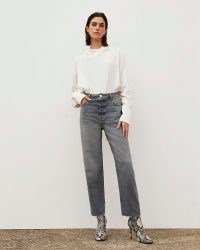 River Island Grey RI Studio High Waisted Straight Jeans | women's Responsibly Sourced Cotton denim fashion | raw hem | high rise | relaxed