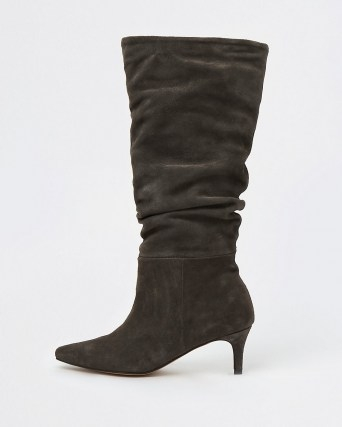 RIVER ISLAND Grey RI Studio Leather Slouch Boots ~ pointed toe kitten heel boots - flipped