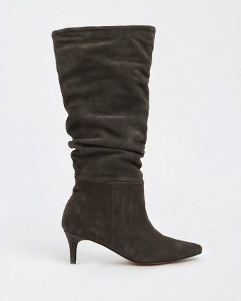 RIVER ISLAND Grey RI Studio Leather Slouch Boots ~ pointed toe kitten heel boots