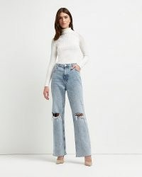 River Island Grey ripped high waisted tapered jeans   womens fashionable destroyed denim