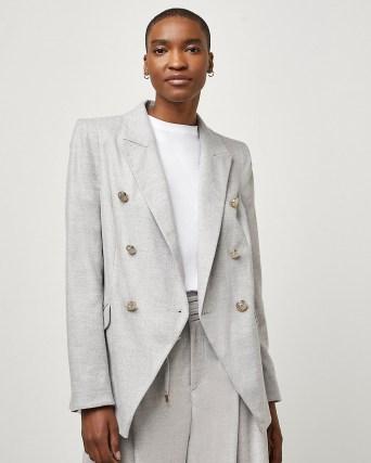 RIVER ISLAND Grey tuxedo jacket | womens fashionable tailored jackets - flipped