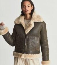 REISS HADI REVERSIBLE SHEARLING AVIATOR JACKET BROWN ~ luxury winter jackets ~ womens casual luxe outerwear