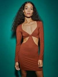 Reformation Hale Dress Chestnut | brown long sleeve cut out mini dresses | plunge front neckline fashion | plunging necklines