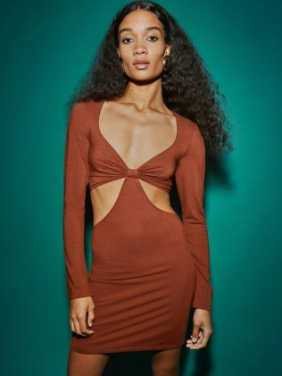 Reformation Hale Dress Chestnut | brown long sleeve cut out mini dresses | plunge front neckline fashion | plunging necklines - flipped