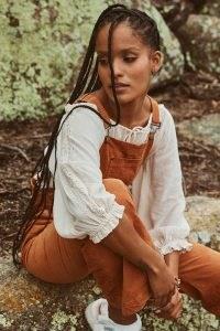 SPELL HARMONY CROPPED BLOUSE PORCELAIN ~ crop hem lace detail blouses ~ boho fashion ~ beautiful bohemian clothing