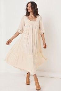 SPELL HARMONY GOWN PORCELAIN ~ lace trim boho dresses ~ floaty square neck bohemian dress ~ feminine fashion